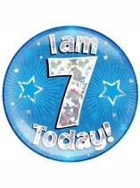 Blue 7th Birthday Holographic Jumbo Badge