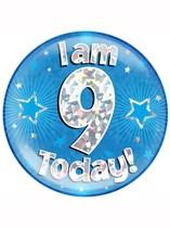 Blue 9th Birthday Holographic Jumbo Badge