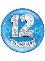 Blue 12th Birthday Holographic Jumbo Badge