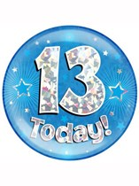 Blue 13th Birthday Holographic Jumbo Badge