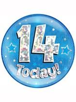 Blue 14th Birthday Holographic Jumbo Badge