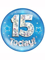 Blue 15th Birthday Holographic Jumbo Badge