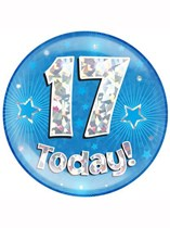 Blue 17th Birthday Holographic Jumbo Badge