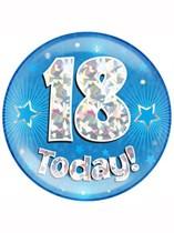 Blue 18th Birthday Holographic Jumbo Badge