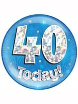 Blue 40th Birthday Holographic Jumbo Badge