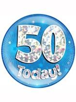 Blue 50th Birthday Holographic Jumbo Badge