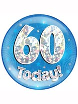 Blue 60th Birthday Holographic Jumbo Badge