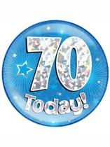 Blue 70th Birthday Holographic Jumbo Badge