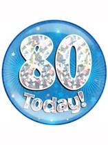 Blue 80th Birthday Holographic Jumbo Badge