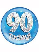 Blue 90th Birthday Holographic Jumbo Badge