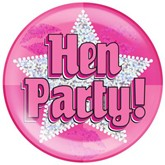 Pink Hen Party Holographic Jumbo Badge