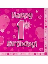 Happy 1st Birthday Pink Hearts Luncheon Napkins 16pk