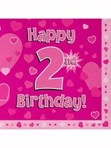 Happy 2nd Birthday Pink Hearts Luncheon Napkins 16pk