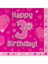 Happy 3rd Birthday Pink Hearts Luncheon Napkins 16pk