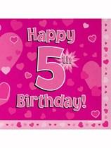 Happy 5th Birthday Pink Hearts Luncheon Napkins 16pk