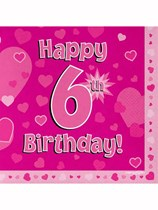 Happy 6th Birthday Pink Hearts Luncheon Napkins 16pk