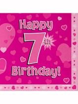 Happy 7th Birthday Pink Hearts Luncheon Napkins 16pk