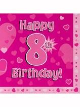 Happy 8th Birthday Pink Hearts Luncheon Napkins 16pk