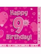 Happy 9th Birthday Pink Hearts Luncheon Napkins 16pk