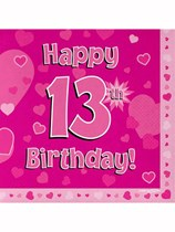 Happy 13th Birthday Pink Hearts Luncheon Napkins 16pk