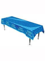 Happy Birthday Blue Stars Plastic Tablecover