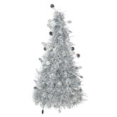 Silver Tinsel Christmas Tree Table Centrepiece