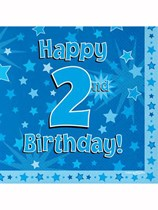 Happy 2nd Birthday Blue Stars Luncheon Napkins 16pk