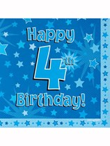 Happy 4th Birthday Blue Stars Luncheon Napkins 16pk