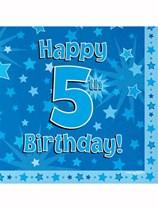 Happy 5th Birthday Blue Stars Luncheon Napkins 16pk