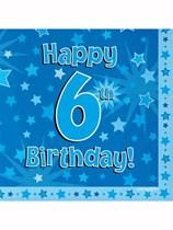 Happy 6th Birthday Blue Stars Luncheon Napkins 16pk