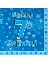 Happy 7th Birthday Blue Stars Luncheon Napkins 16pk