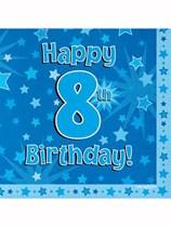Happy 8th Birthday Blue Stars Luncheon Napkins 16pk