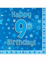 Happy 9th Birthday Blue Stars Luncheon Napkins 16pk