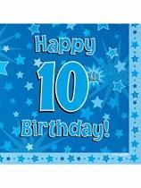 Happy 10th Birthday Blue Stars Luncheon Napkins 16pk