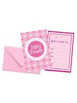 Baby Shower Pink Invitations 8pk