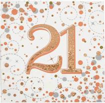 Sparkling Fizz 21st Birthday Rose Gold Napkins 16pk