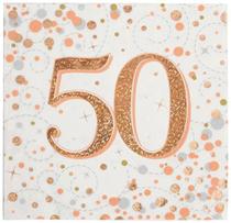 Sparkling Fizz 50th Birthday Rose Gold Napkins 16pk