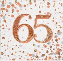 Sparkling Fizz 65th Birthday Rose Gold Napkins 16pk