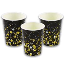 Sparkling Fizz Black & Gold 9oz Paper Cups 8pk
