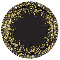 """Sparkling Fizz Black & Gold 9"""" Paper Plates 8pk"""