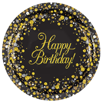 "Sparkling Fizz Black & Gold Happy Birthday 9"" Paper Plates 8pk"