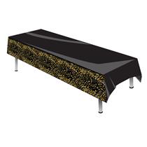 Sparkling Fizz Black & Gold Plastic Tablecover