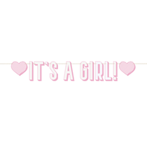 Pink It's A Girl Letter Banner