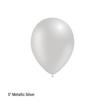 "Decotex Pro 5"" Metallic Silver Latex Balloons 100pk"
