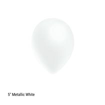"Decotex Pro 5"" Metallic White Latex Balloons 100pk"