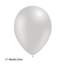 "Decotex Pro 11"" Metallic Silver Latex Balloons 50pk"