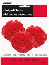 Ruby Red Mini Puffball Hanging Decorations 3pk
