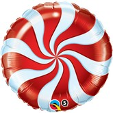 """Red Candy Swirl 18"""" Foil Balloon"""