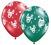 "Christmas Santa & Rudolph 11"" Latex Balloons 25pk"