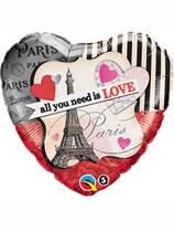 """Valentine's Day 18"""" Paris Love Heart Balloon"""